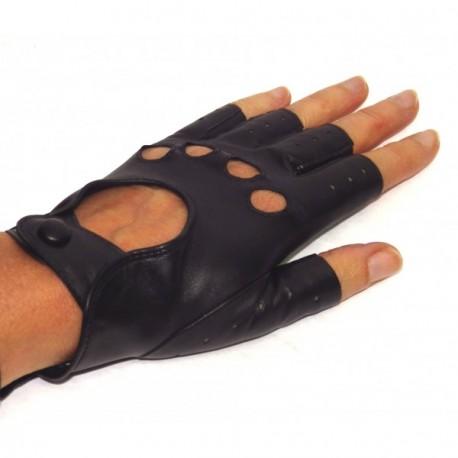 Gants de conduite doigts coupés en cuir